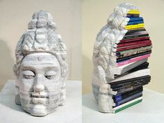 Long-Bin Chen, Buddha sculpture from Rebound: Dissections and Excavations in Book Art   12 Amazing Works Of Art Made From Books