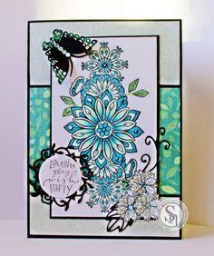 Colorista card made using Spectrum Noir Colorista – Stamps set 3. Colorista pens - set 1 - leaf green. Set 2 - pale mint. Set 3 - pistachio. Set 6 - cyan. Colorista pencils set 6. Designed by Anne Cullen #crafterscompanion #spectrumnoir #colorista