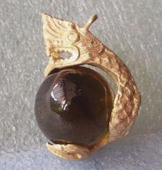 Yellow Naga Dragon Eyes Ball Rare Thai Buddha amulet talisman pendants Rich Luck