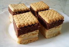 Tejbegrízes-kekszes süti Hungarian Recipes, Fudge, Tiramisu, Cake Recipes, Biscuits, Recipies, Cheesecake, Food And Drink, Yummy Food