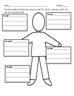 FREE - After introducing similes have them complete this activity in class. They have to write descriptive similes about themselves and draw them. Then, for homework  have them do the same thing with a family member. The third page is a follow up to see if students are understanding the concept.