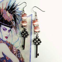 Only $6.99! - Art Noir Long Rose Pink Cat's Eye Beaded Earrings, Deep Silver Skeleton Key Drop Earrings, Crystal Clear Gemstone Bejeweled Cat's Eye Beaded Earrings, Vintage Style Skeleton Key Charm Earrings, Holiday Jewelry Gift Ideas Under $10 - FREE USA SHIPPING https://www.etsy.com/listing/453671708/art-noir-rose-pink-cats-eye-beaded