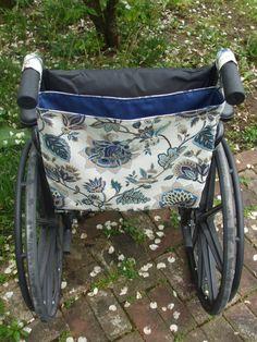 Blue Floral Wheelchair Bag, Wheelchair Tote