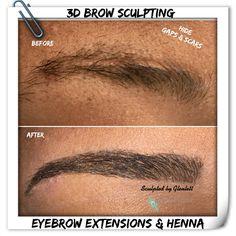Eyebrow Extensions, Henna, Eyebrows, Sculpting, Cosmetics, Hair, Eye Brows, Sculpture, Hennas