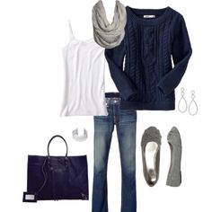 Navy cable cord sweater, jeans and gray flats... This is my kind of outfit!