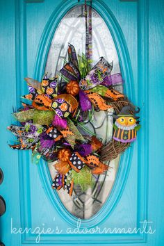 Funky Bow Wreath, Whimsical Bow Wreath, Halloween Owl Wreath, Halloween Grapevine Wreath, Halloween Ribbon Wreath