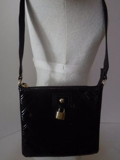 0d81ccd5d2d Tommy Hilfiger Small Crossbody Shoulder Bag Purse Quilted Faux Black Patent for  sale online | eBay