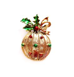 Vintage Christmas Brooch, Signed Ornament Pin