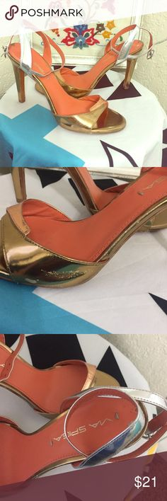 🔥via spiga sexy heels Small wear on one side please see picture! Love the two toned gold plus silver strap!  Wear with anything!  Super sexy! Via Spiga Shoes Heels