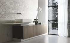 """Kreoo's """"Wood Box"""" """"Nabhi Bowl No. 9"""" marble vessel sink and """"Merletto"""" marble tile. In a private bath. http://www.kreoo.com/marble-bathroom-furniture-woodbox/ #Kreoo #Marble #Bathroom"""