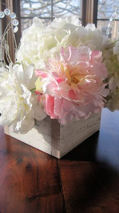 Set of 2Wedding Table Decor Distressed Wood by BurlapandLinenCo, $26.99