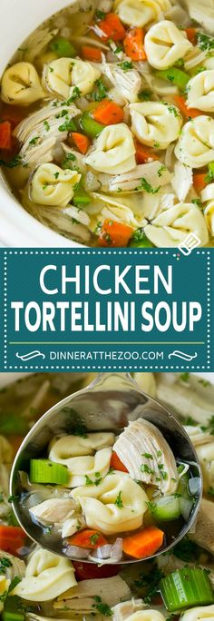 Chicken Tortellini Soup (Slow Cooker) - Dinner at the Zoo Recipes - Slow Cooker Tortellini Soup, Tortellini Recipes, Crock Pot Soup, Slow Cooker Soup, Slow Cooker Chicken, Cheese Tortellini Soup, Best Soup Recipes, Chicken Recipes, Dinner Recipes