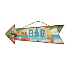 """Flèche """"Open Bar""""   en bois et corde - multicolore  40 x 13,5 cm"""