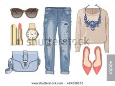 Lady fashion set of autumn season outfit. Illustration stylish and trendy clothing. Coat, pants, sunglasses, scarf, shoes.