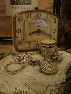 Old clock & jewels