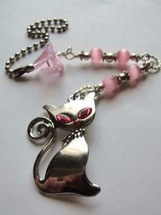 Pink Kitty Silver Ceiling Fan Pull Chain Cats by LilacMoonEmporium.etsy.com  Stop by and say hello!