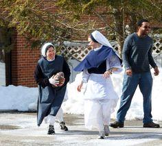 Sisters of life playing football