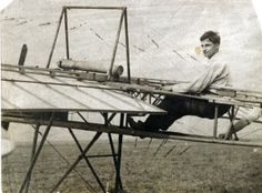Amadee Rayburn at Kinloch Field, located in St. Louis County, in a monoplane that he designed and built. (1910) Missouri History Museum