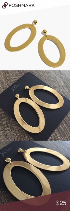 j crew | oval gold earrings gold statement earrings are a must for fall • love this oval style for a cool, sophisticated take  NWT  length: 74mm brass casting and sheet shiny gold plating  no trades J. Crew Jewelry Earrings