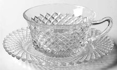 "Anchor Hocking ""Miss America"" Pattern Cup and Saucer in Clear (1935-1938) Depression Glass"