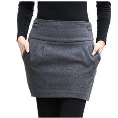 Winter Skirt 2015 Women Fashion Autumn Fall Brand Plus Size Slim Hip Zipper Closed Pocket Bud Short Thick Warm Wool Skirts Mode Outfits, Skirt Outfits, Casual Outfits, Winter Rock, Look Fashion, Womens Fashion, Fashion Brand, Slim Hips, Winter Skirt