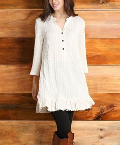 Winter White Cable-Knit Ruffle-Hem Tunic #zulily #zulilyfinds Love this ♡
