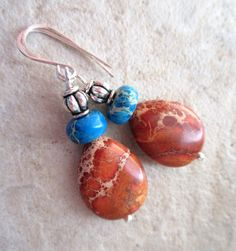 Red and Blue Jasper Earrings Under10 Mothers Day by LeanneDesigns, $7.50 Shop Sale, Jasper, Red And Blue, Jewerly, Mothers, Beading, Pendant Necklace, Trending Outfits, Unique Jewelry