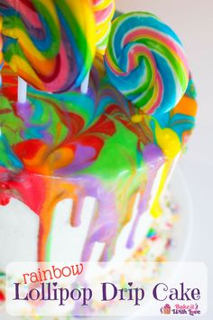 When it comes to bright and colorful this Rainbow Lollipop Drip Cake is at the top of our list for super fun cakes to make for any occasion! This fantastic cake is so fun to make and looks so amazing, yet it is easy enough for anyone to DIY at home! Fun Cakes, Yummy Cakes, Cupcake Cakes, Elegant Cake Design, Elegant Cakes, Creative Cake Decorating, Creative Cakes, Decorating Cakes, Cookie Decorating