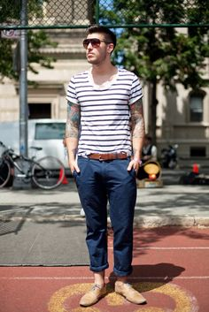 Striped T-shirt and navy pants