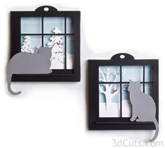 Kitties Shadow Boxes - Wishing for Spring by Marji Roy of 3dcuts.com. Files for paper cutting using a Silhouette or Cricut cutting machine