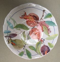 Maiolica pomegranate bowl By Laurie Curtis