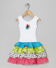 Take a look at this Lime Green & Dark Pink Tiered Ruffle Dress - Toddler & Girls on zulily today!