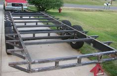 Pics of my car hauler trailer built with a Millermatic 175 - Miller Welding Discussion Forums Cargo Trailer Camper, Car Hauler Trailer, Work Trailer, Custom Trailers, Trailer Plans, Trailer Build, Utility Trailer, Cargo Trailers, Homemade Trailer