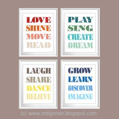 Set of four, Inspirational Nursery Wall Art 4-8X10 Prints- Buy 3 get one free, Kids Room Art, Baby Room Decor, Childrens Room Decor on Etsy, $50.00