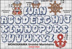 Tem Tudo da Amanda: Gráficos Ursinhos Marinheiros em Ponto Cruz Diy Embroidery, Cross Stitch Embroidery, Embroidery Patterns, Stitch Patterns, Cross Stitch Letters, Cross Stitch Baby, Special Letters, Perler Bead Art, Alphabet And Numbers