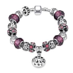 Silver Charm Bracelet with Purple, Black & Silver Charms