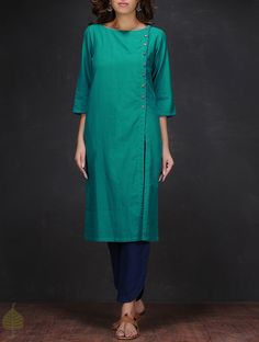 Buy Turquoise Boat Neck Handloom Cotton Kurta by Jaypore Women Kurtas Online at Jaypore.com