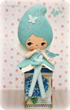 blue felt doll