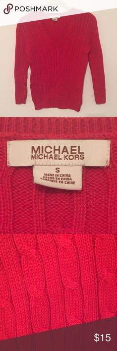 Michael Kors Red Size S V-Neck Cable Knit Sweater Michael Kors red v-neck cable knit sweater in size small in great condition. Great layering piece!! MICHAEL Michael Kors Sweaters V-Necks