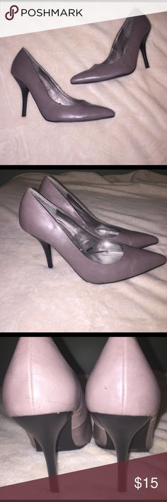 "Gray Pointed Toe Pumps by Dollhouse Gray pointed toe pumps by Dollhouse. Heel is 4"". Some minor scuffs as shown in pictures. Make me an offer! 🎉😘 Dollhouse Shoes Heels"