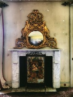 fireplace with ornate mirror. Mirror Image, Mirror Mirror, Ornate Mirror, Fireplace Mantels, Fireplaces, Fireplace Mirror, Trumeau, Mantel Mirrors, Beautiful Mirrors