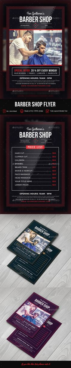 3 old fashioned barber shop flyer templates 6psd barber for 901 salon prices