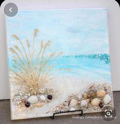 Beach Painting Beach Art Glass On Canvas Beach Scene Beach Seashell Painting, Seashell Art, Seashell Crafts, Beach Crafts, Beach Scene Painting, Sea Glass Crafts, Sea Glass Art, Stained Glass, Beach Artwork