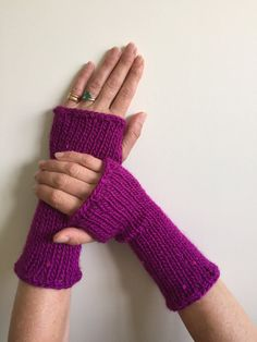 Fingerless Gloves Purple with Sequins Hand Warmers by SimonKnits