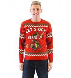 "If you're looking, not just for an ugly Christmas sweater, but for an incredibly cheap and tacky holiday sweater then our ""Let's Get Elfed Up"" Drunken Elves ugly Christmas sweater is probably what you've been looking for."