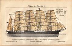 1908 Original Antique German Print Meyers Takelung Rigging Sea Going Vessels | eBay