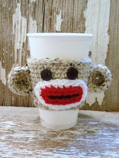 Sock Monkey crocheted Coffee Sleeve or Tea COZY