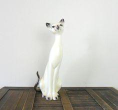 vintage large ceramic siamese cat figurine - pet - cat lover - meow