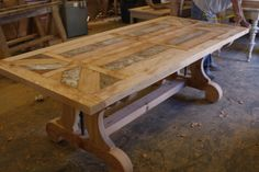 Reclaimed Lumber Table Patina | Currently unfinished, and waiting for its sofa table companion. Then ...