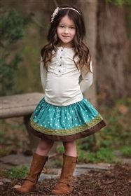 Persnickety Clothing - Emerald Pine Ruth Skirt in Turquoise
